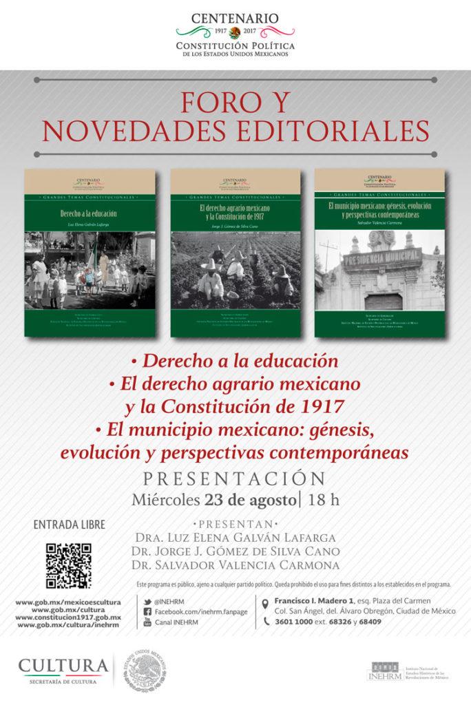 """Presentarán serie editorial """"Grandes temas constitucionales"""" en el INEHRM"""
