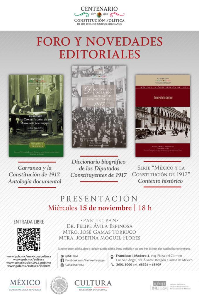 Presentarán libros sobre Venustiano Carranza y los diputados constituyentes de 1917