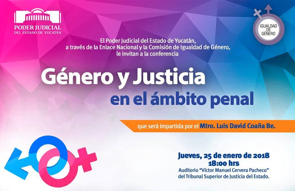 """Invita Poder Judicial del Estado a la conferencia """"Género y Justicia en el ámbito penal"""""""