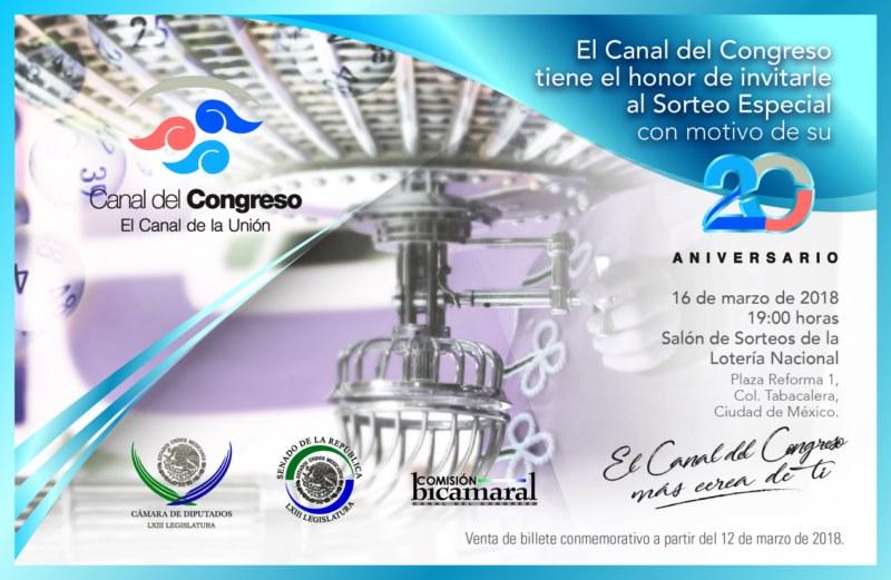 El Canal del Congreso festeja su 20 Aniversario con la emisión de un billete de lotería
