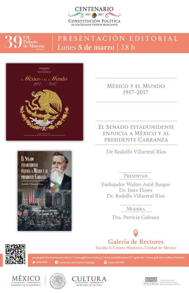 Presentarán libro sobre Carranza y el Senado de Estados Unidos en Feria Minería