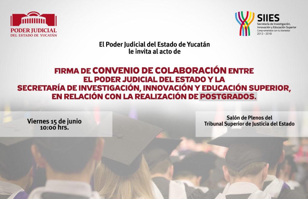 Firmará Poder Judicial del Estado de Yucatán convenio para ofrecer maestrías