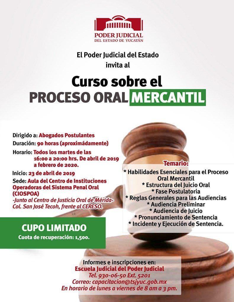 Poder Judicial Invita a curso sobre el proceso oral mercantil